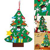 Детская елочка с игрушками из фетра на стену 95*70 см Chrismas Free