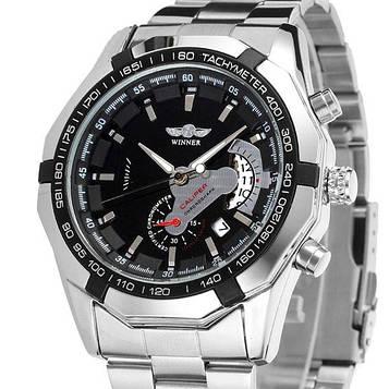 Winner Мужские классические механические часы Winner Titanium Silver 1038