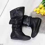 Элегантные черные женские зимние сапоги на низком ходу 36-23см, фото 6