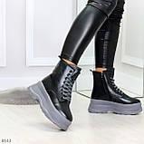 Молодежные черные зимние женские ботинки на серой платформе 36-23 38-24 39-24,5 40-25см, фото 2