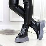 Молодежные черные зимние женские ботинки на серой платформе 36-23 38-24 39-24,5 40-25см, фото 3