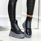Молодежные черные зимние женские ботинки на серой платформе 36-23 38-24 39-24,5 40-25см, фото 4