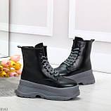 Молодежные черные зимние женские ботинки на серой платформе 36-23 38-24 39-24,5 40-25см, фото 5