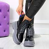 Молодежные черные зимние женские ботинки на серой платформе 36-23 38-24 39-24,5 40-25см, фото 6
