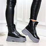 Молодежные черные зимние женские ботинки на серой платформе 36-23 38-24 39-24,5 40-25см, фото 7