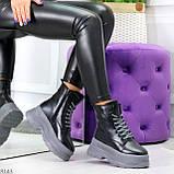 Молодежные черные зимние женские ботинки на серой платформе 36-23 38-24 39-24,5 40-25см, фото 8