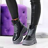 Молодежные черные зимние женские ботинки на серой платформе 36-23 38-24 39-24,5 40-25см, фото 9