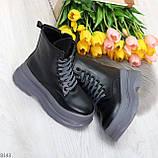 Молодежные черные зимние женские ботинки на серой платформе 36-23 38-24 39-24,5 40-25см, фото 10