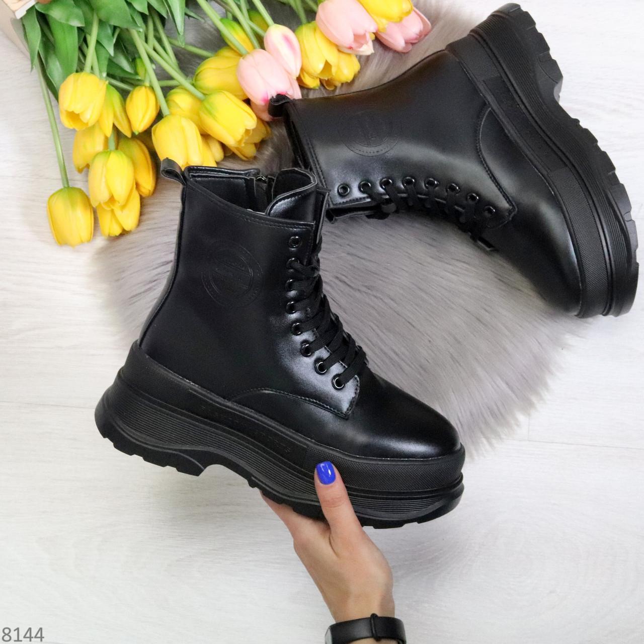 Трендовые молодежные черные зимние женские ботинки на платформе 36-23 37-23,5 38-24см
