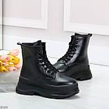Трендовые молодежные черные зимние женские ботинки на платформе 36-23 37-23,5 38-24см, фото 2
