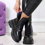 Трендовые молодежные черные зимние женские ботинки на платформе 36-23 37-23,5 38-24см, фото 3