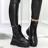 Трендовые молодежные черные зимние женские ботинки на платформе 36-23 37-23,5 38-24см, фото 4