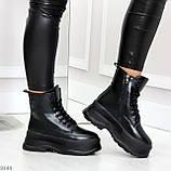 Трендовые молодежные черные зимние женские ботинки на платформе 36-23 37-23,5 38-24см, фото 10