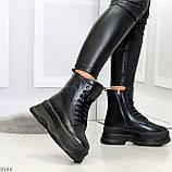 Трендовые молодежные черные зимние женские ботинки на платформе 36-23 37-23,5 38-24см, фото 6