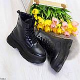 Трендовые молодежные черные зимние женские ботинки на платформе 36-23 37-23,5 38-24см, фото 7