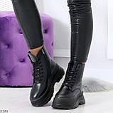 Трендовые молодежные черные зимние женские ботинки на платформе 36-23 37-23,5 38-24см, фото 8