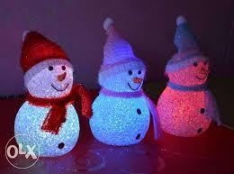 Снеговик светящийся - новогоднее украшение 6*14см
