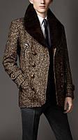 Пальто короткое  мужское с норковым воротником