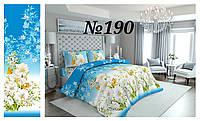 Постельное бельё, бязь GOLD, полуторный комплект, цветы на голубом фоне