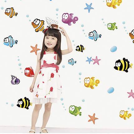 Інтер'єрна наклейка Дитяча Рибки AY618 60х45см, фото 2