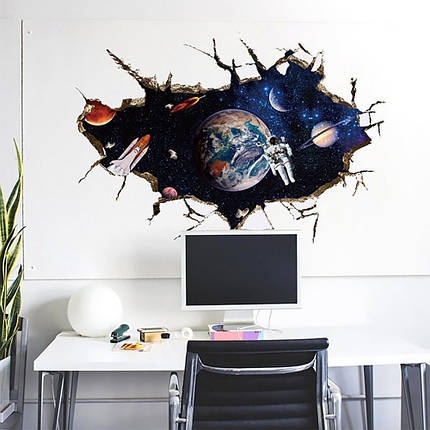 Інтер'єрна наклейка 3D Космонавт SK9066A 90х60см, фото 2