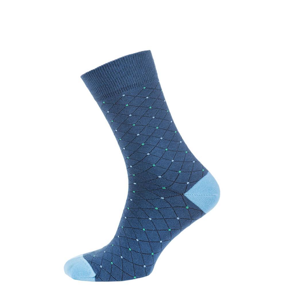 Носки мужские цветные из хлопка, синий в крапинку