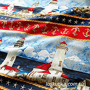 54007 Ткань на морскую тему. Подойдет для декорирования и шитья. Хлопок США., фото 2