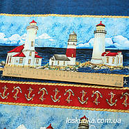 54007 Ткань на морскую тему. Подойдет для декорирования и шитья. Хлопок США., фото 3