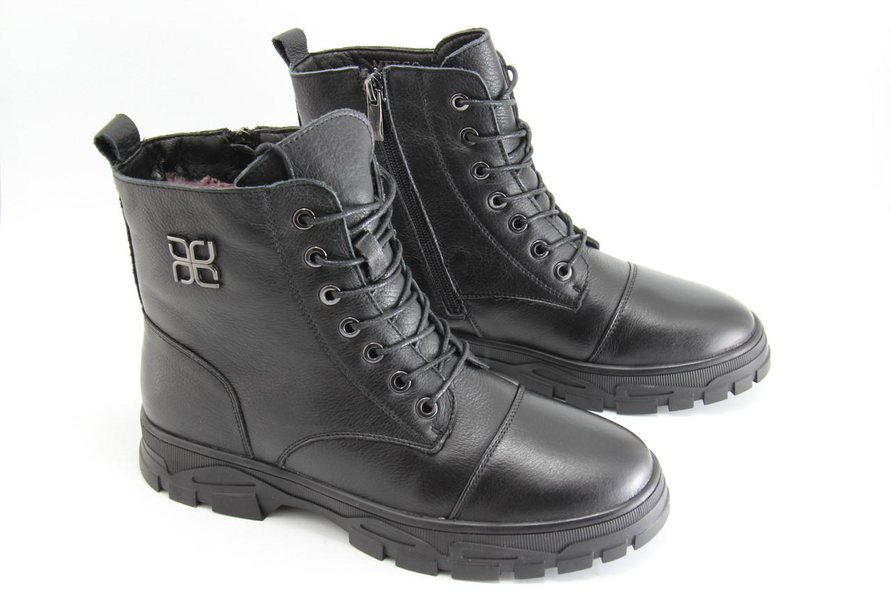 Зимние кожаные ботинки MeegoComfort S19050-3-black