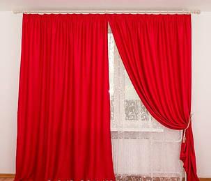 Шторы Красный, софт-велюр, фото 2