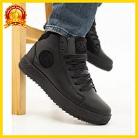 Мужские зимние ботинки кожаные, стильные молодежные на шнуровке, черные