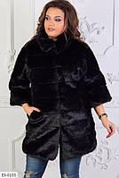 Женская черная Эко Шубка Батал под норку с рукавом 3/4, фото 1