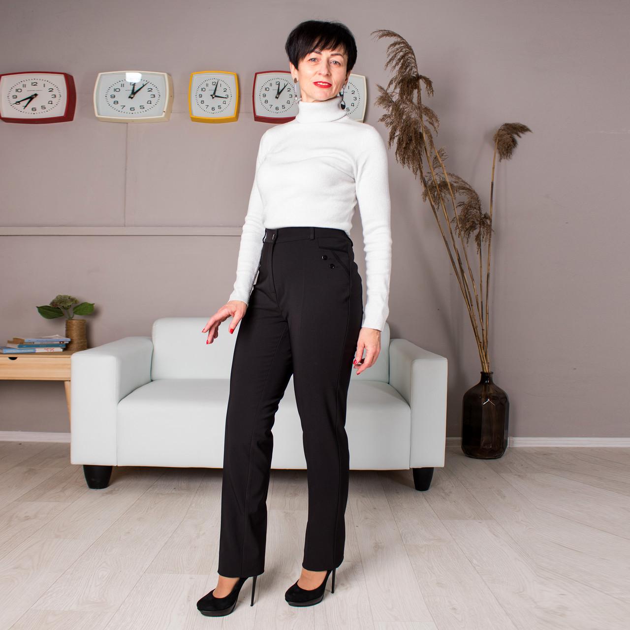 Женские брюки Аврора черные на байке