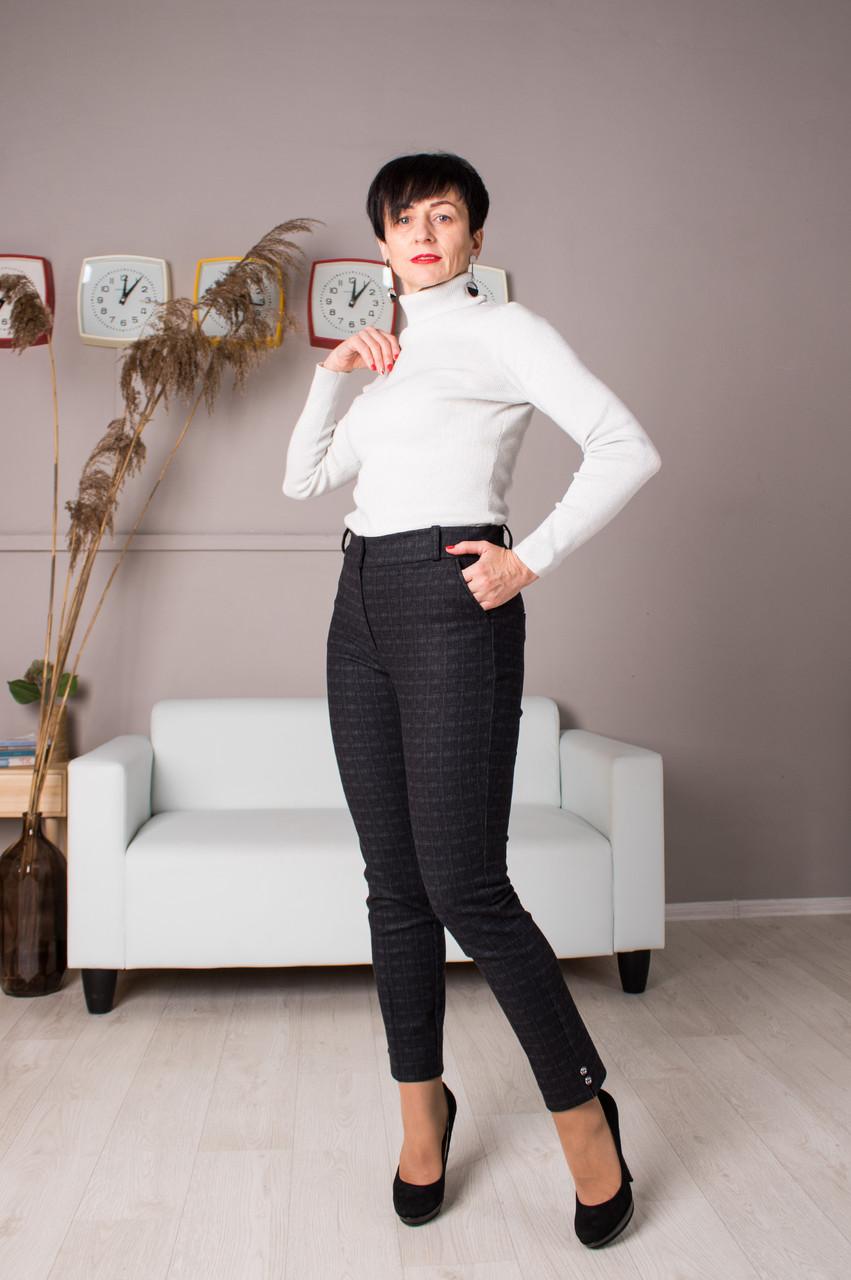 Женские брюки Кети клетка теплая