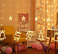 Гирлянда Штора с формами колокольчик, елка, олень 12 PCS light/ тёплый,  мульти, фото 2