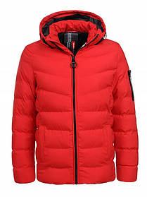 Мужская зимняя куртка с капюшоном в красном цвете