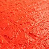 Декоративная 3D панель самоклейка под кирпич Оранжевый 700x770x7мм, фото 2