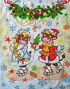 Новогоднее полотенце в подарочной коробке кухонное вафельное Бык Символ 2021 (вариант 2), 60*45 см