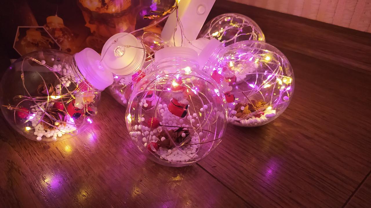 Гирлянда штора 3*1м ШАРИКИ новогодняя светодиодная мультиколор