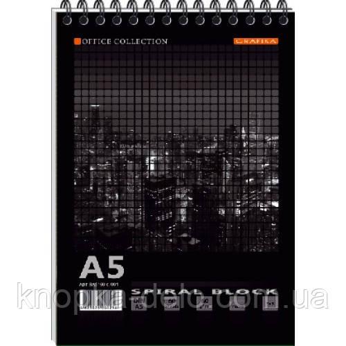 Блокнот А5 MEGPOLIS спір. 60арк. карт. обкладинка тверда підкладка ВА5460-004