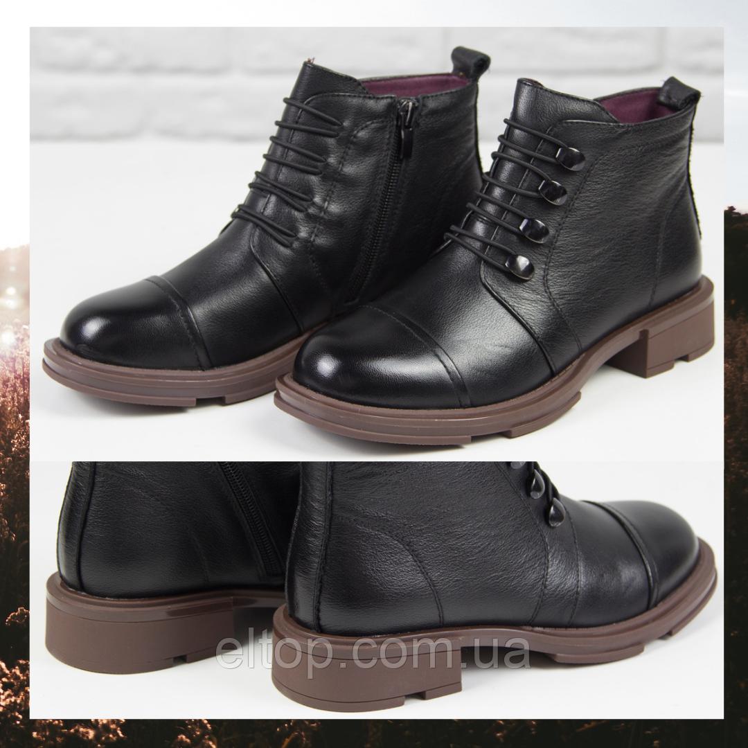 Стильные красивые удобные женские ботинки из натуральной кожи черные Ботинки кожа Egga размер 36 - 40