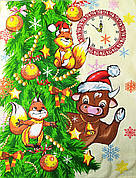 Новогоднее полотенце в подарочной коробке кухонное вафельное Бык Символ 2021 (вариант 3), 60*45 см