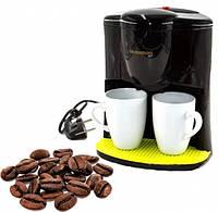 Капельная кофеварка + 2 чашки Crownberg CB-1560, 600 Вт, 0,3 л (2 порции) маленькая кофемашина для дома