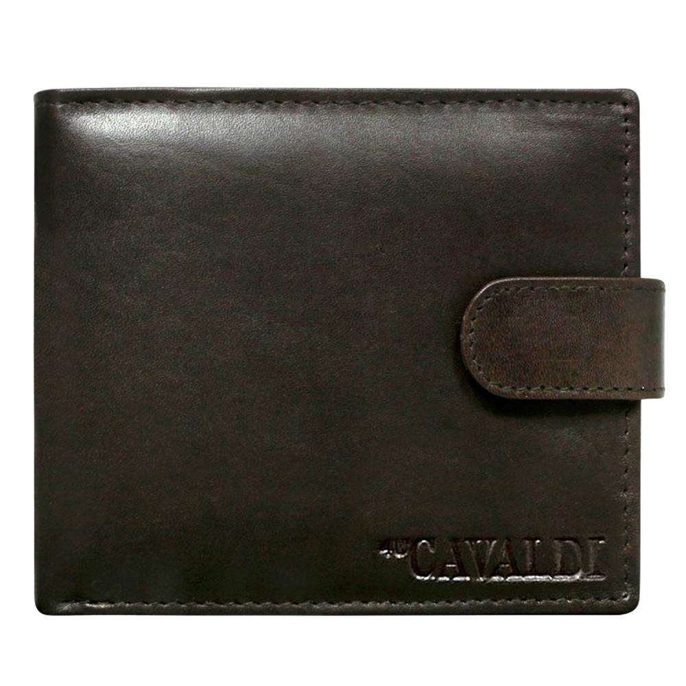 Мужское кожаное портмоне на кнопке Cavaldi N992L-SCR коричневое