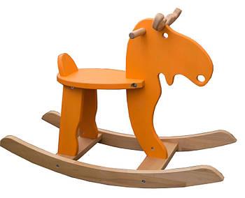 """Деревянная детская качалка """"Лосяш"""", оранжевый цвет"""