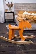 """Деревянная детская качалка """"Лосяш"""", оранжевый цвет, фото 3"""
