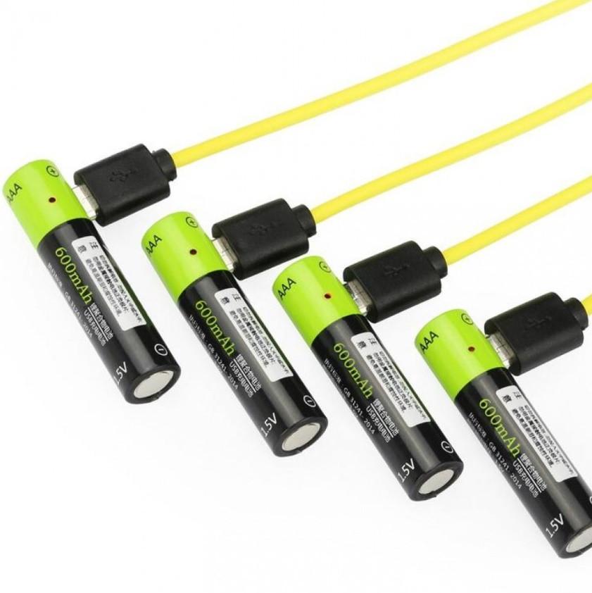 Набор 4шт аккумуляторов Znter AAA 1,5V Li-Po на 600 mah + кабель для зарядки