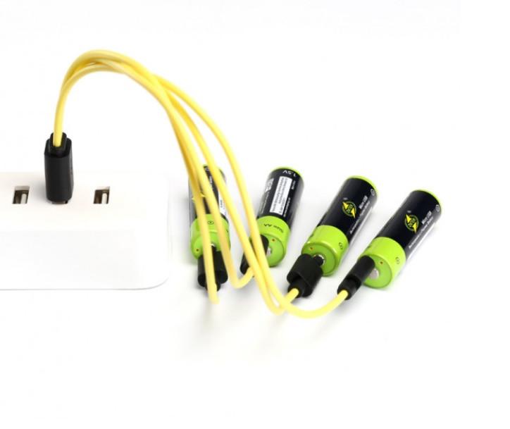 Набор аккумуляторов ZNTER AA повышенной емкости на 1700 mah + кабель для зарядки