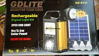 Аккумуляторный фонарь с солнечной батареей GDLITE GD-8131 + 3 лампочки, фото 1