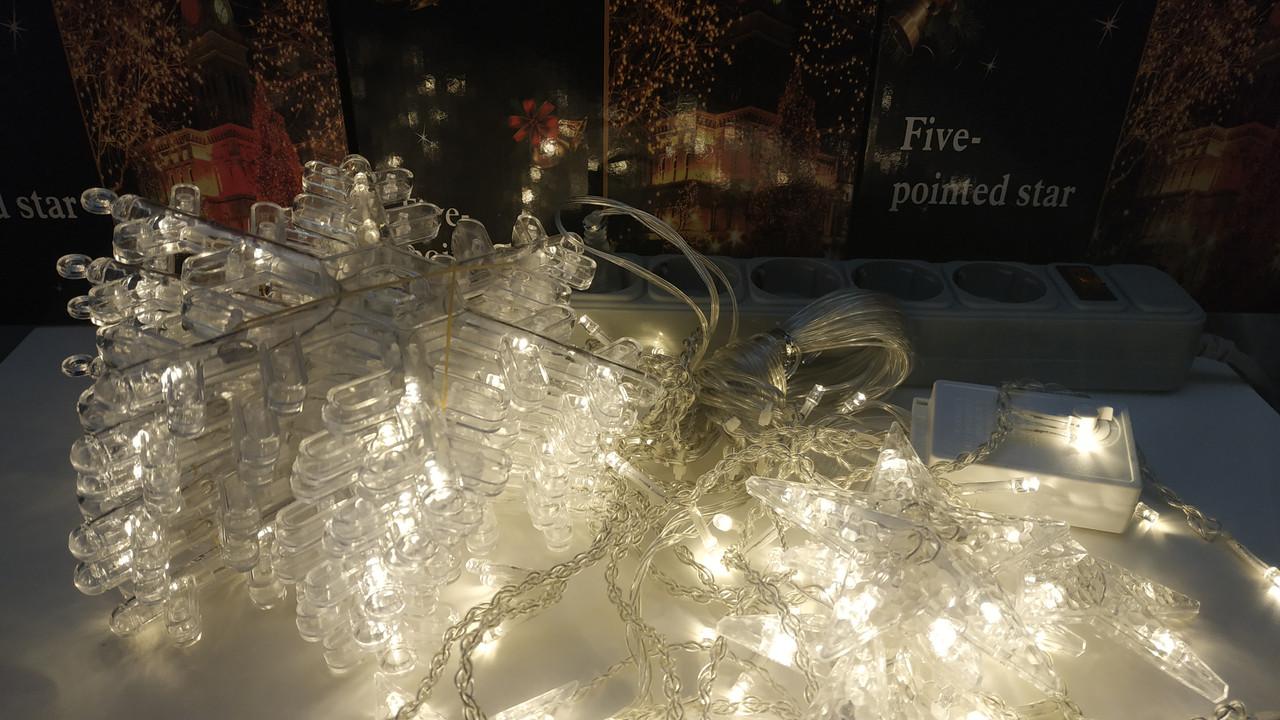 Гирлянда штора 2.5*1м СНЕЖИНКА новогодняя, теплая